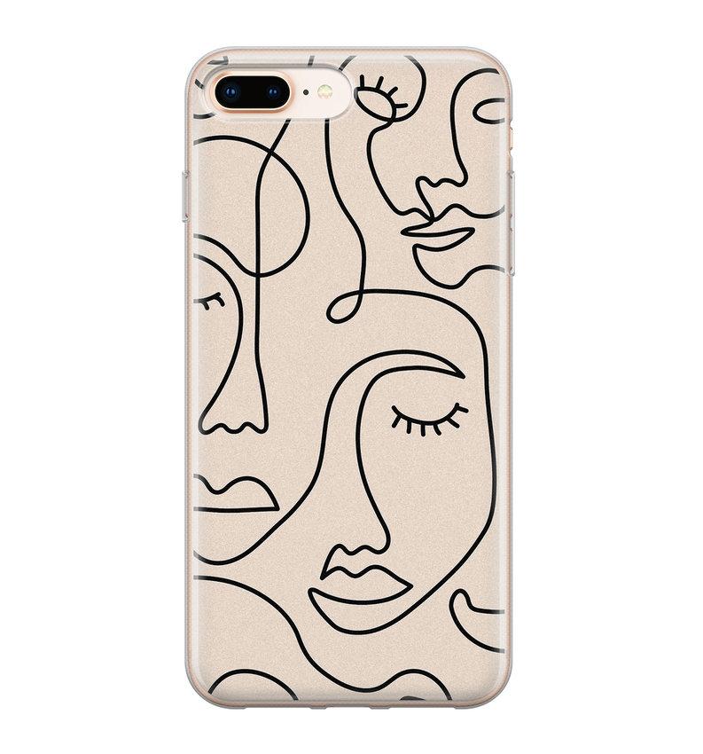 iPhone 8 Plus/7 Plus siliconen hoesje - Abstract gezicht lijnen