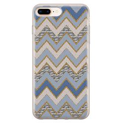 Leuke Telefoonhoesjes iPhone 8 Plus/7 Plus siliconen hoesje - Retro zigzag