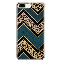 Leuke Telefoonhoesjes iPhone 8 Plus/7 Plus siliconen hoesje - Luipaard zigzag