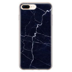 Leuke Telefoonhoesjes iPhone 8 Plus/7 Plus siliconen hoesje - Marmer navy blauw