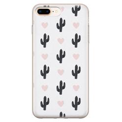 Leuke Telefoonhoesjes iPhone 8 Plus/7 Plus siliconen hoesje - Cactus love