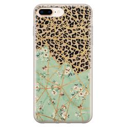 Leuke Telefoonhoesjes iPhone 8 Plus/7 Plus siliconen hoesje - Luipaard flower print