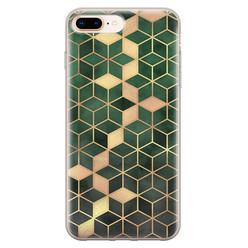 Leuke Telefoonhoesjes iPhone 8 Plus/7 Plus siliconen hoesje - Green cubes
