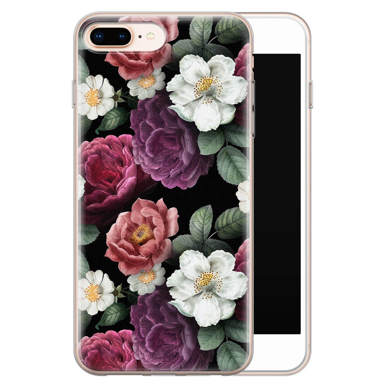Leuke Telefoonhoesjes iPhone 8 Plus/7 Plus siliconen hoesje - Bloemenliefde