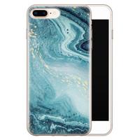 Leuke Telefoonhoesjes iPhone 8 Plus/7 Plus siliconen hoesje - Marmer blauw