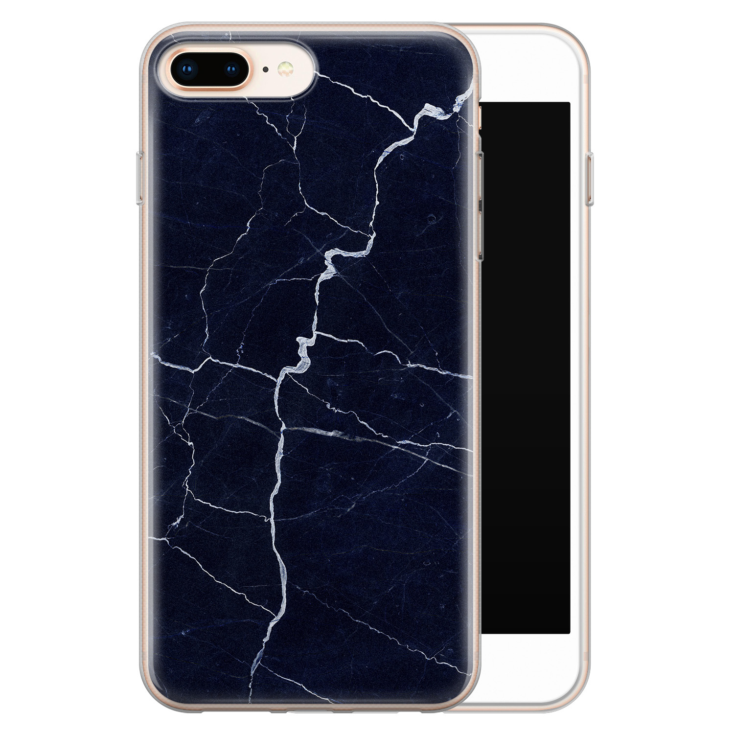 iPhone 8 Plus/7 Plus siliconen hoesje - Marmer navy blauw