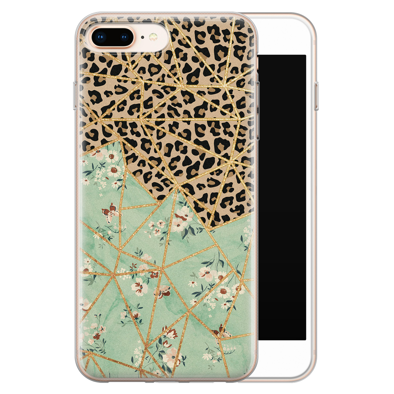 iPhone 8 Plus/7 Plus siliconen hoesje - Luipaard flower print
