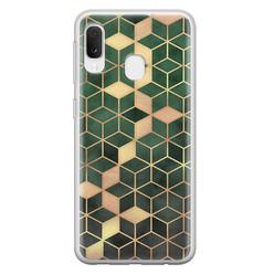 Leuke Telefoonhoesjes Samsung Galaxy A20e siliconen hoesje - Green cubes