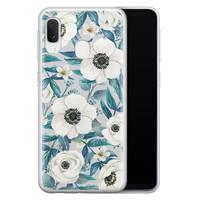 Samsung Galaxy A20e siliconen hoesje - Witte bloemen