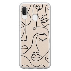 Leuke Telefoonhoesjes Samsung Galaxy A20e siliconen hoesje - Abstract gezicht lijnen