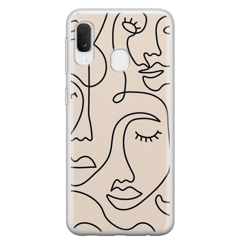 Samsung Galaxy A20e siliconen hoesje - Abstract gezicht lijnen