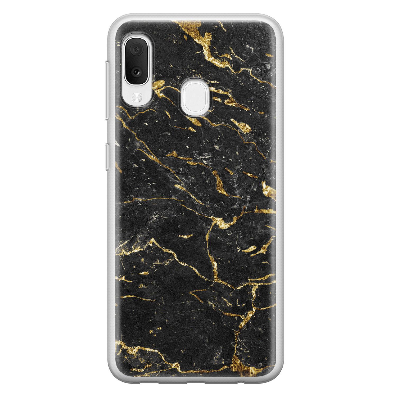 Samsung Galaxy A20e siliconen hoesje - Marmer zwart goud