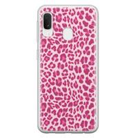 Samsung Galaxy A20e siliconen hoesje - Luipaard roze