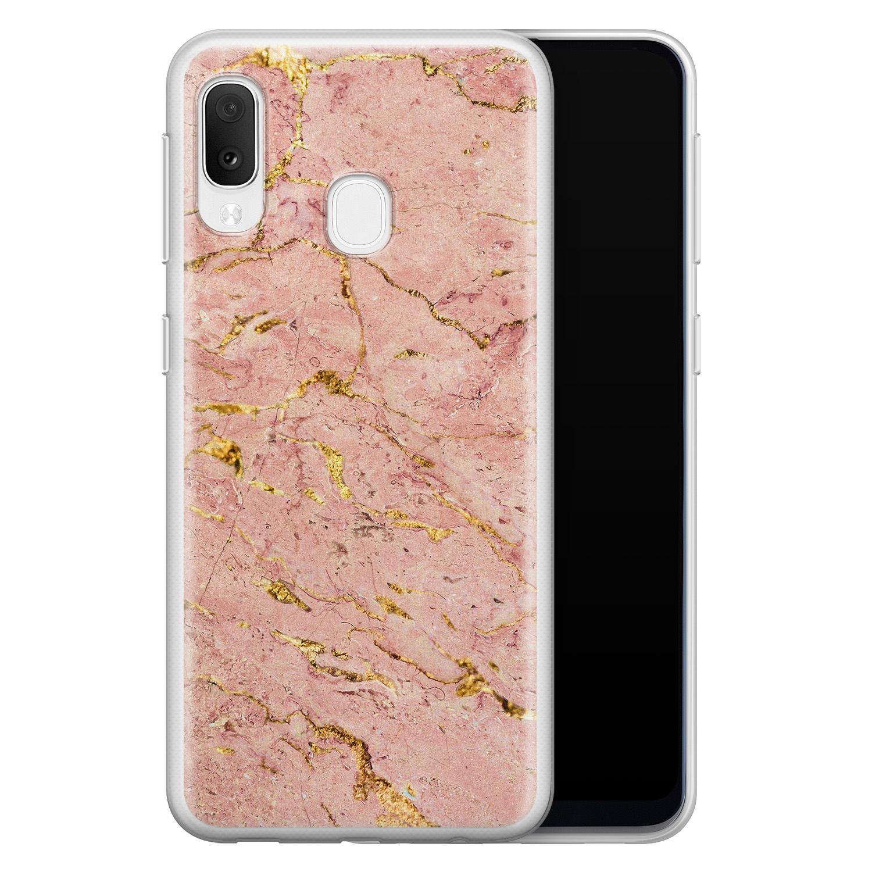 Samsung Galaxy A20e siliconen hoesje - Marmer roze goud