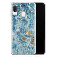 Samsung Galaxy A20e siliconen hoesje - Goud blauw marmer
