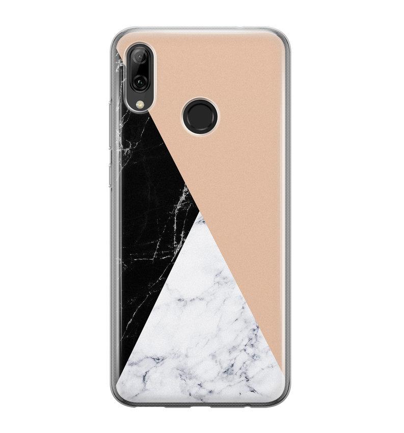 Huawei P Smart 2019 siliconen hoesje - Marmer zwart bruin