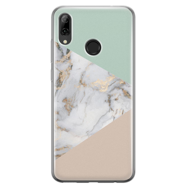 Leuke Telefoonhoesjes Huawei P Smart 2019 siliconen hoesje - Marmer pastel mix