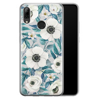 Huawei P Smart 2019 siliconen hoesje - Witte bloemen