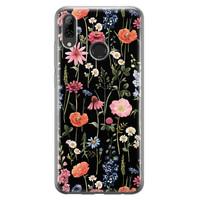 Huawei P Smart 2019 siliconen hoesje - Dark flowers