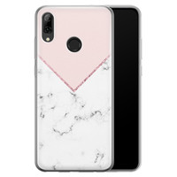 Huawei P Smart 2019 siliconen hoesje - Marmer roze grijs