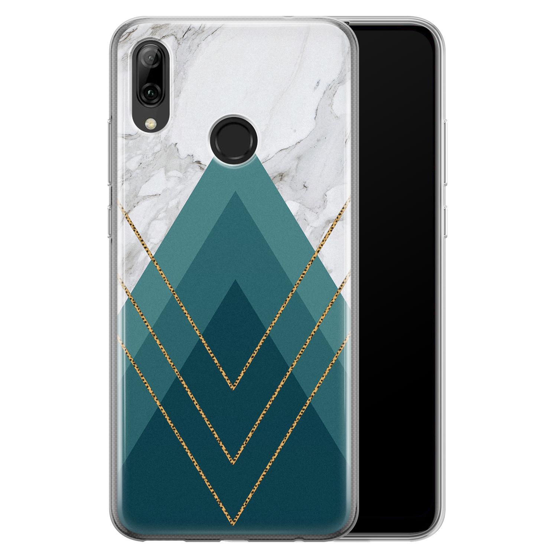 Huawei P Smart 2019 siliconen hoesje - Geometrisch blauw