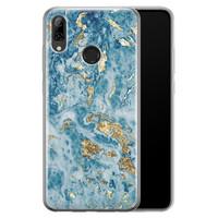 Leuke Telefoonhoesjes Huawei P Smart 2019 siliconen hoesje - Goud blauw marmer