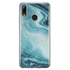 Leuke Telefoonhoesjes Huawei P Smart 2019 siliconen hoesje - Marmer blauw