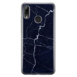 Leuke Telefoonhoesjes Huawei P Smart 2019 siliconen hoesje - Marmer navy blauw