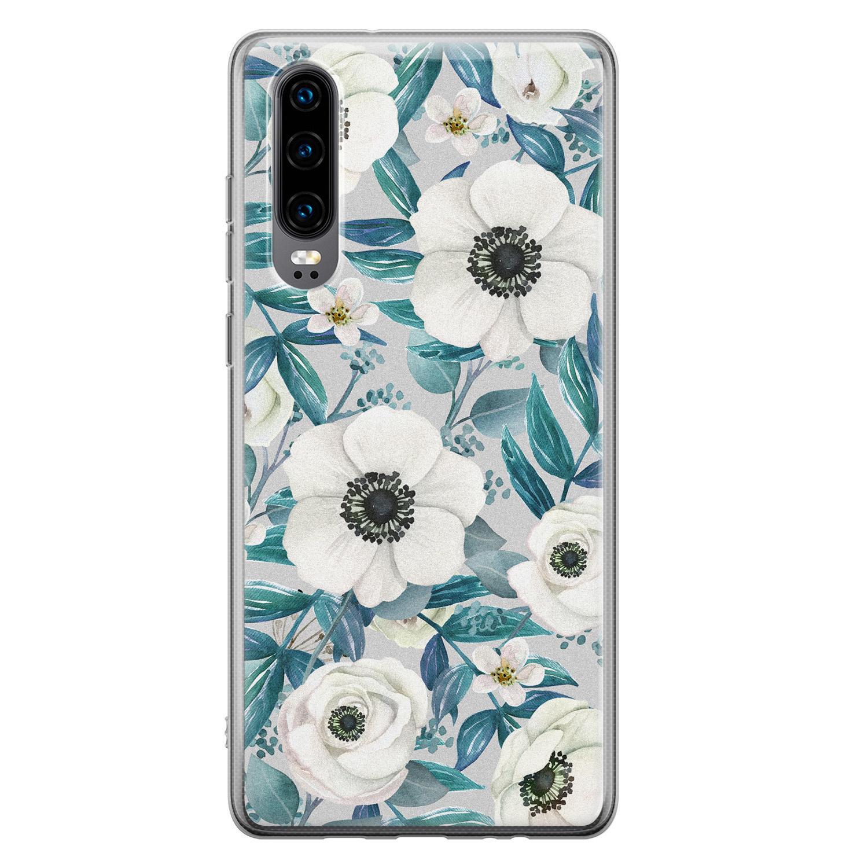 Huawei P30 siliconen hoesje - Witte bloemen