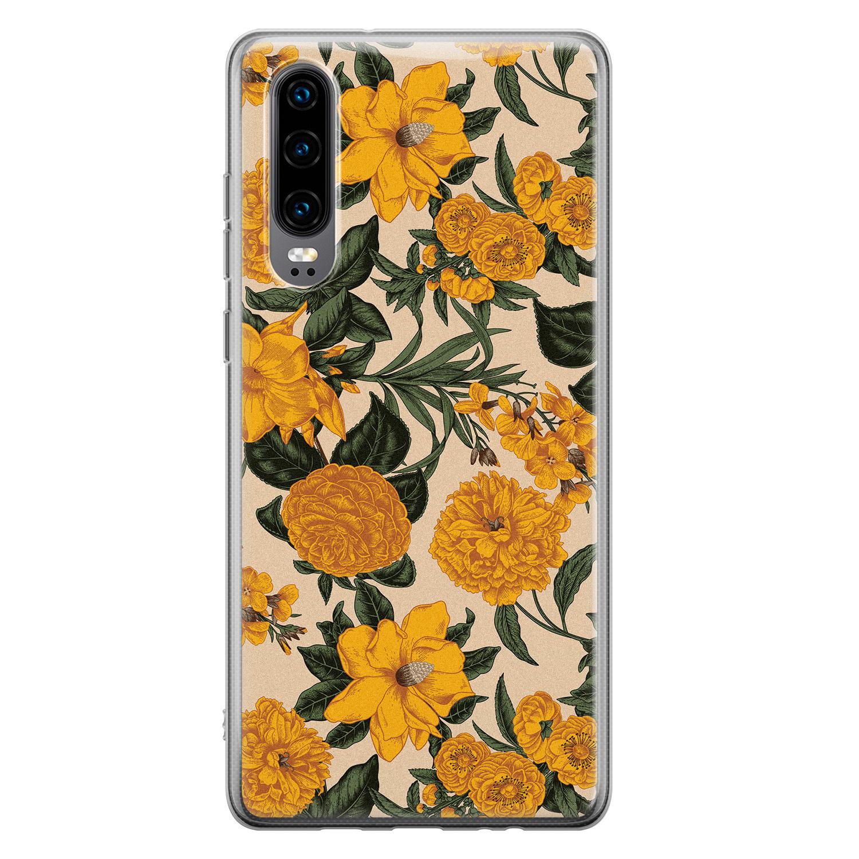 Huawei P30 siliconen hoesje - Retro flowers