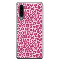 Huawei P30 siliconen hoesje - Luipaard roze