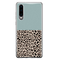 Huawei P30 siliconen hoesje - Luipaard mint