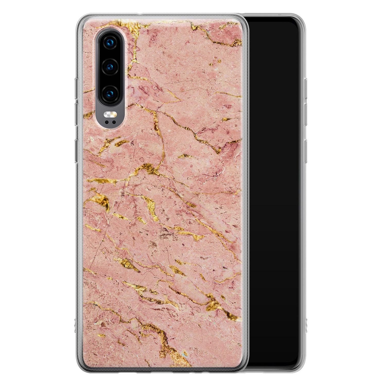 Huawei P30 siliconen hoesje - Marmer roze goud