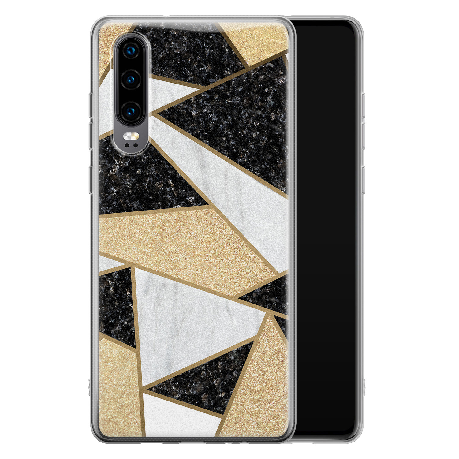 Huawei P30 siliconen hoesje - Goud abstract