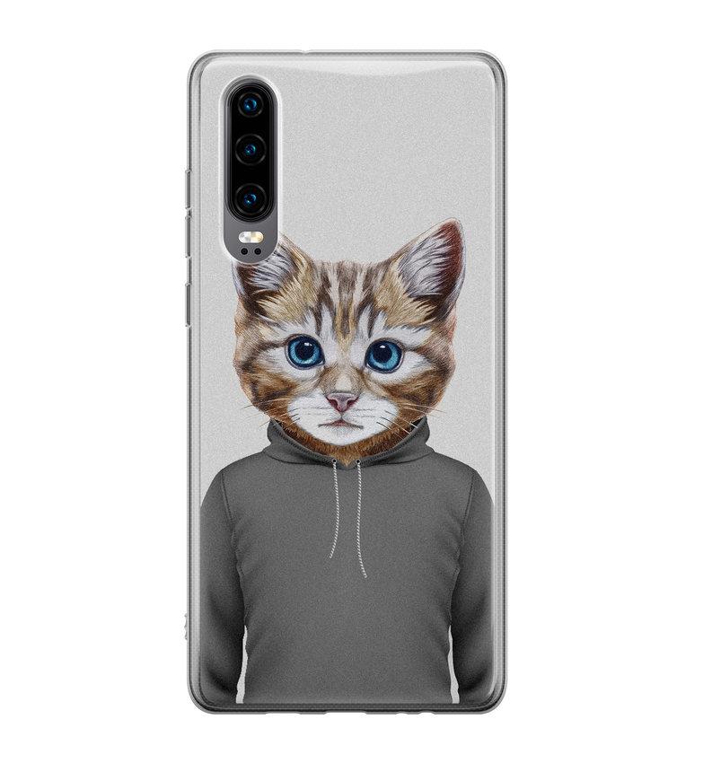 Huawei P30 siliconen hoesje - Poezenhoofd