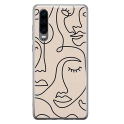 Huawei P30 siliconen hoesje - Abstract gezicht lijnen