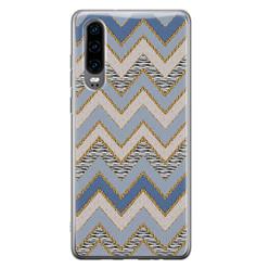 Leuke Telefoonhoesjes Huawei P30 siliconen hoesje - Retro zigzag