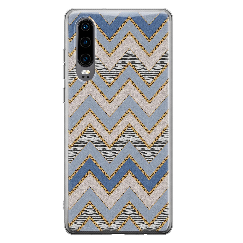 Huawei P30 siliconen hoesje - Retro zigzag
