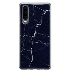 Huawei P30 siliconen hoesje - Marmer navy blauw