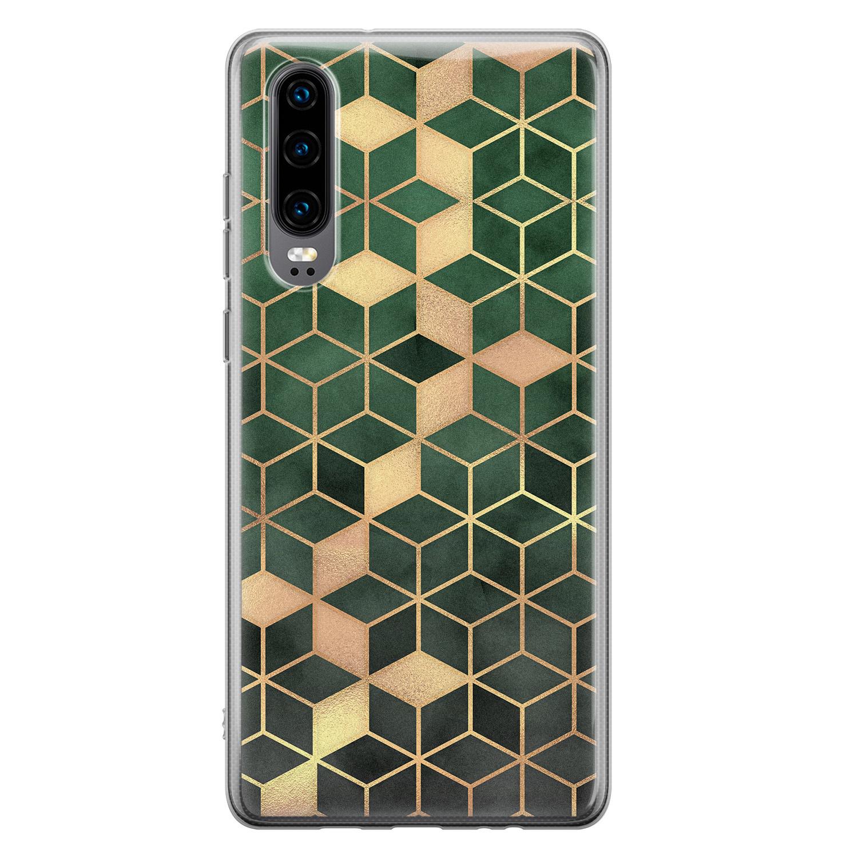 Huawei P30 siliconen hoesje - Green cubes