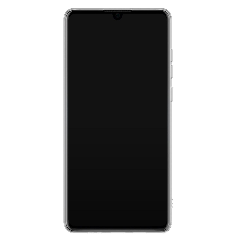Huawei P30 siliconen hoesje - Goud blauw marmer