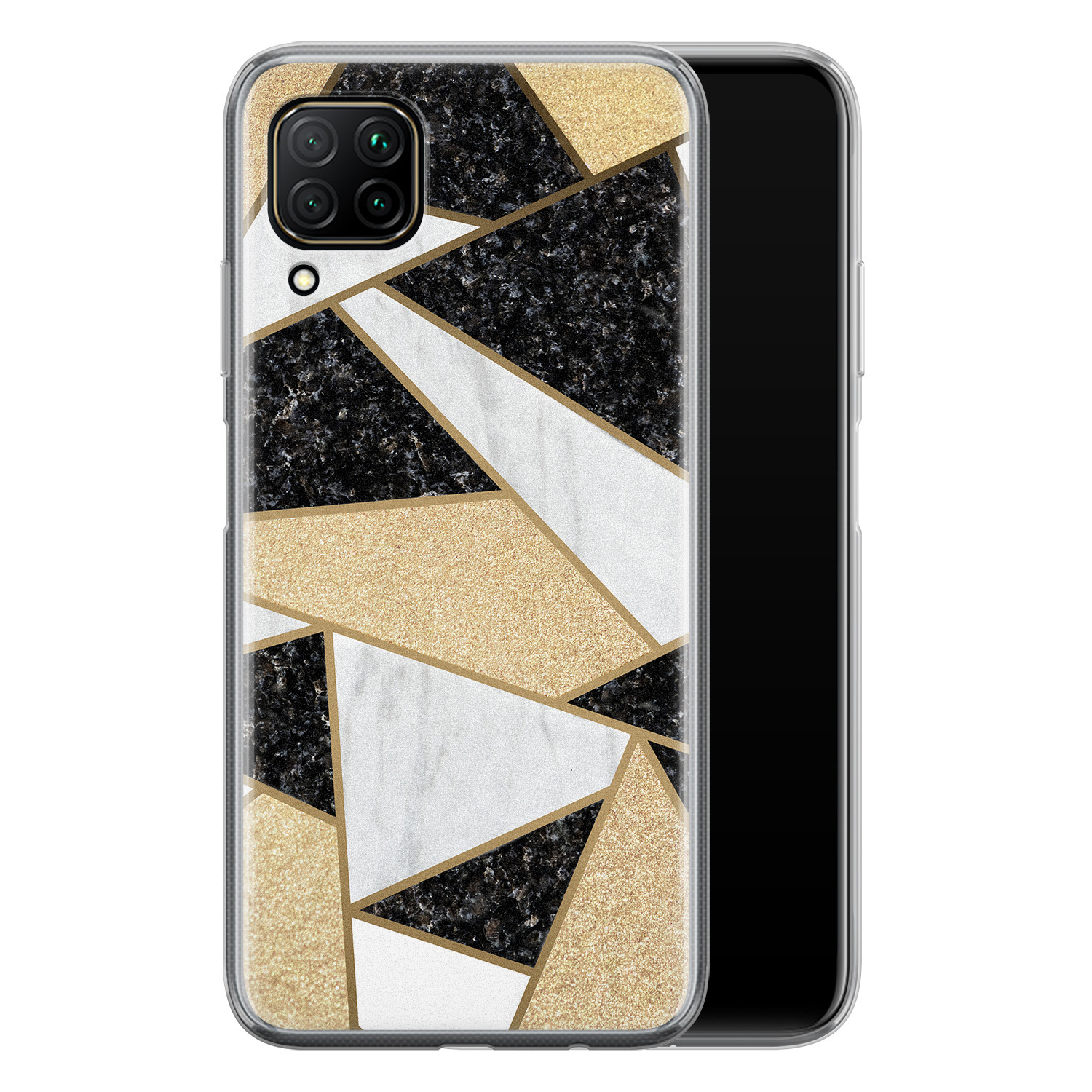 Huawei P40 Lite siliconen hoesje - Goud abstract
