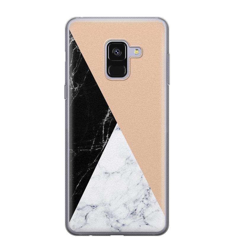 Samsung Galaxy A8 2018 siliconen hoesje - Marmer zwart bruin