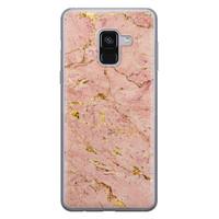 Samsung Galaxy A8 2018 siliconen hoesje - Marmer roze goud