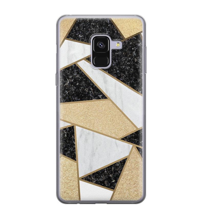Samsung Galaxy A8 2018 siliconen hoesje - Goud abstract