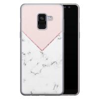 Samsung Galaxy A8 2018 siliconen hoesje - Marmer roze grijs