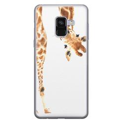 Samsung Galaxy A8 2018 siliconen hoesje - Giraffe peekaboo