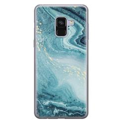 Leuke Telefoonhoesjes Samsung Galaxy A8 2018 siliconen hoesje - Marmer blauw
