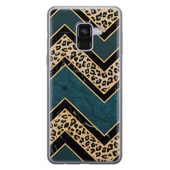 Leuke Telefoonhoesjes Samsung Galaxy A8 2018 siliconen hoesje - Luipaard zigzag