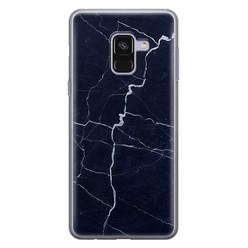 Samsung Galaxy A8 2018 siliconen hoesje - Marmer navy blauw